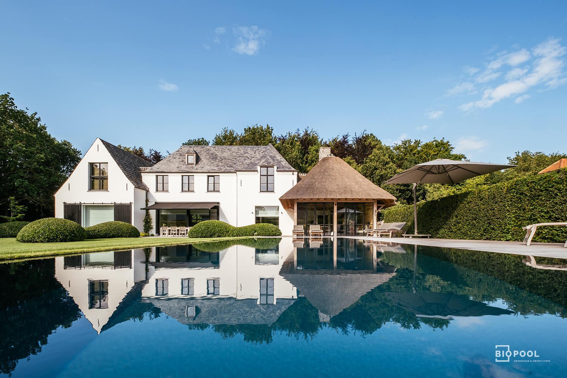 Afbeelding project PPC | Spiegel overloop zwembad | Grasrand | Houten terras | Hertsberge